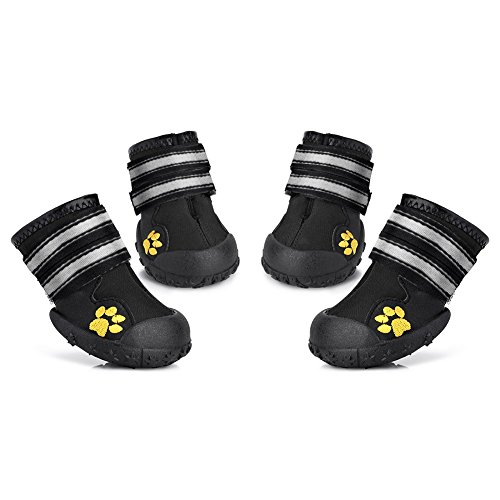 Petacc 4 Piece Dog Shoes Waterproof Dog Boots Anti-Slip Snow Boots Warm Paw Protector for Medium/Large Dogs Labrador Husky Shoes, 6
