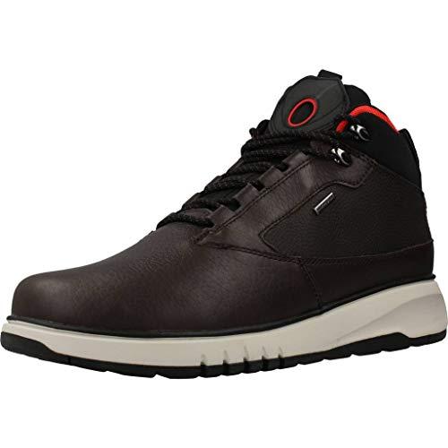 Geox Hombre Zapatillas AERANTIS 4X4 ABX, de Caballero Alto,Calzado Deportivo,Bota de Tobillo de Zapatilla,Impermeable,Coffee/Black,44 EU / 10 UK