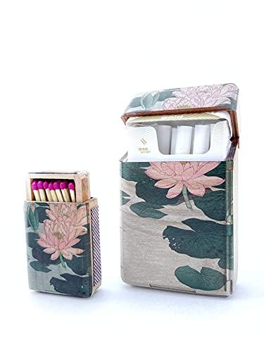 Handmade Zigarettenetui aus Holz für Zigarettenschachtel - Zigarettenetui für selbstgestopfte Zigaretten Plus Schachtel für Streichhölzer - Zigaretten Etui mit verschiedenen Motiven