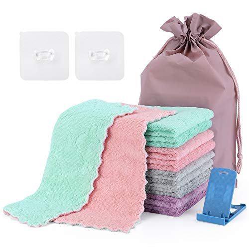 Piececool 10PCS Microfiber Cleaning Cloth Kitchen Towels Double Sided Cleaning Cloth Microfiber,...