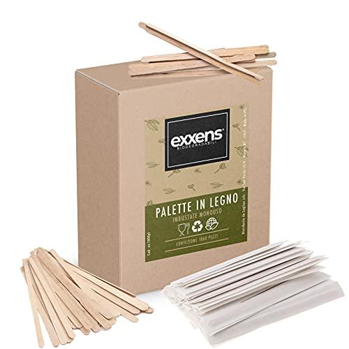 exxens Palette caffè Biodegradabili in Legno Bastoncini Palettine Bacchette Monouso per Girare Caffe nei Bicchierini (1000)