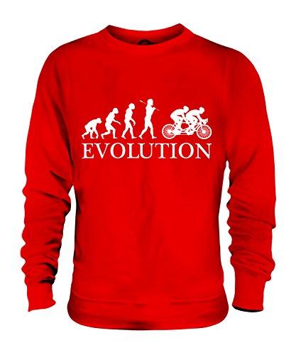 Candymix Tandem Fahrrad Evolution des Menschen Unisex Herren Damen Sweatshirt, Größe 2X-Large, Farbe Rot