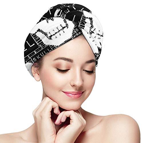 QHMY Serviettes de Cheveux Cool Skull (26) Casquettes de Cheveux à séchage Rapide pour Bath Spa