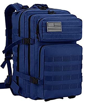 Luckin Packin Tactical Backpack,Military Backpack,Molle Bag 45 Liter Large (Blue)