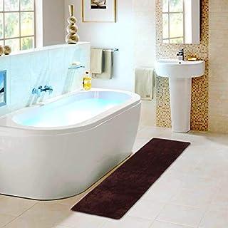 Anti-Slip Color Bath Mat Runners for Bathroom Soft Water Absorbent Long Rug New Dark Brown