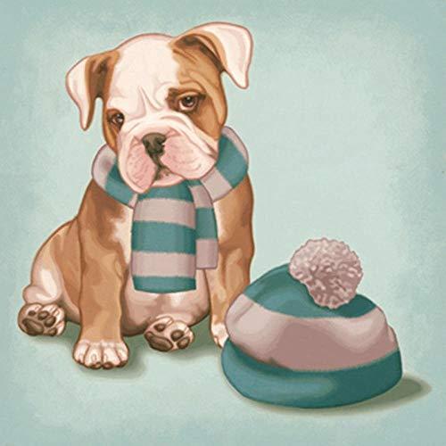 DIY 5D Diamant Schilderij Volledige Vierkante Volledige Diamant Art, hoed Sjaal Hond 50x50cm Borduurwerk Ophangen Schilderij Kerstmis Gift Plakken Strass Ambachten
