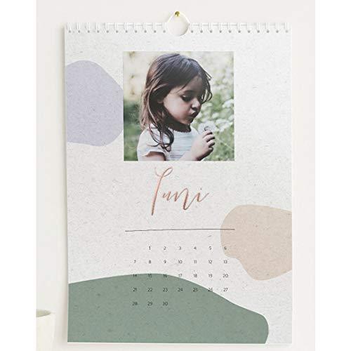 Fotokalender 2021 mit Veredelung in Roségold, Bunte Farben, Wandkalender mit persönlichen Bildern, Kalender für digitale Fotos, Spiralbindung, DIN A4 Hochformat