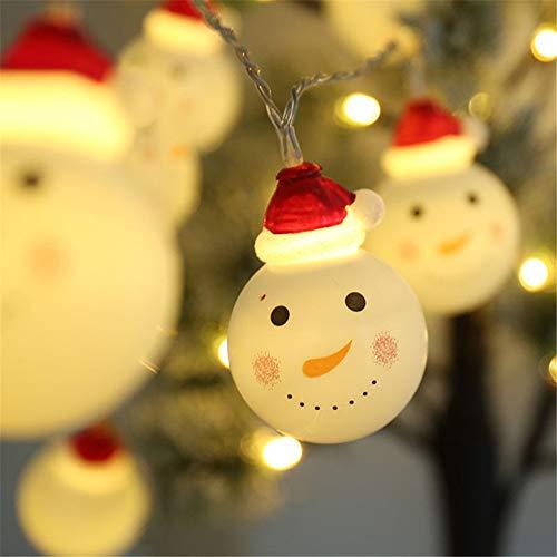 Wankd LED Lichterkette Schneemann Weihnachtsbeleuchtung Höhe Batterie außen Deko transparentes Kabel beleuchtet Weihnachtsdeko 5m 20 LED für Party Xmas Innen/Außen Haus Deko String Lights (Weiß)