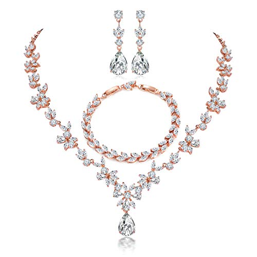 Hadskiss Jewelry Set for Women, Necklace Dangle Earrings Bracelet Set with White Cubic Zirconia, Rose Gold Plated Wedding Party Jewelry for Bridal Bridesmaid