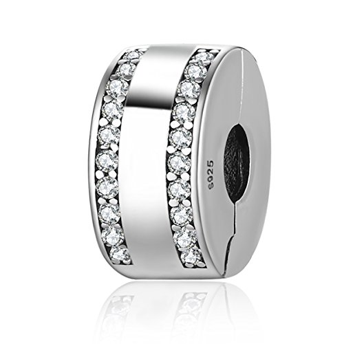 Abalorio para pulsera, de plata de ley 925 y diamantes claros de...