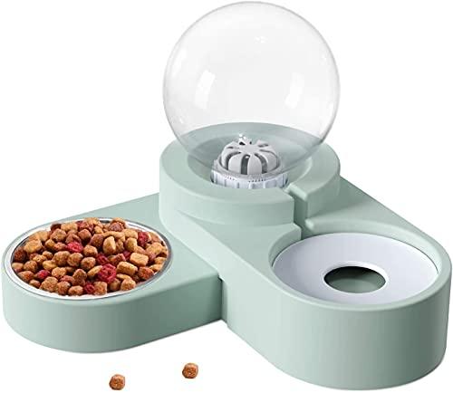 2 in 1 automatischer Haustierwasserspender mit Futternapf, Doppelwasser- und Futternapfset für Hunde und Katzen,automatischer Futterautomat für Katzen und Hunde, Tränke für kleine und Katzen und Hunde