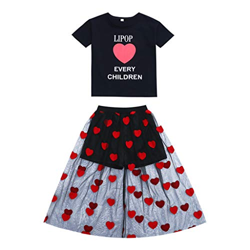 Livoral Teen Kinder Mädchen Brief Herzform Kurzarm T-Shirt Tops Tüll Kleid Outfits Set(Schwarz,11-13 Jahre)