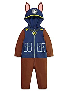 Paw Patrol Chase Toddler Boys Fleece Zip-Up Hooded Costume Coverall Blue 3T