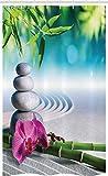 ABAKUHAUS SPA Cortina para baño, SPA Flor de la orquídea de la Arena, Tela con Estampa Digital Apta Lavadora Incluye Ganchos, 120 x 180 cm, Azul Verde del Helecho Fucsia