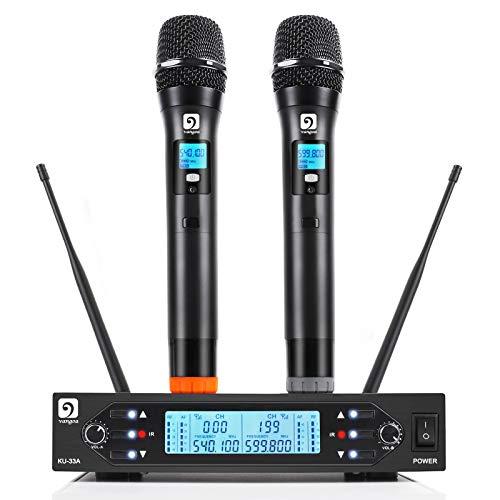 UHF Wireless Microphone System, Vangoa Professional Dual Channel Handheld Dynamic Mic...