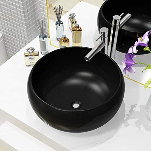 Ausla Modernes Waschbecken aus Keramik, 40 x 15 cm, Waschbecken rund auf Arbeitsplatte schwarz
