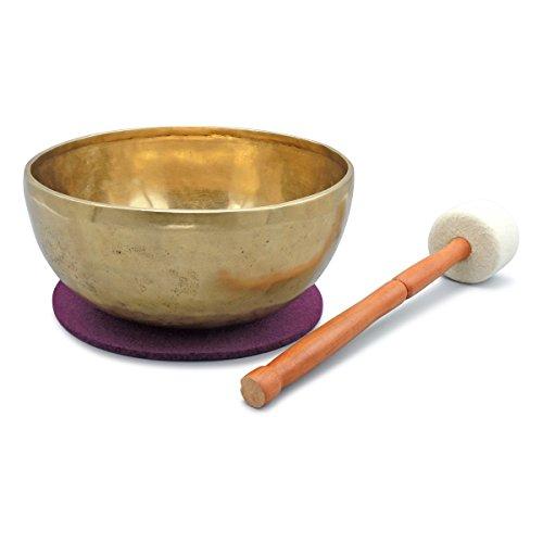 Tibetische Klangschale, Handarbeit, für Klangmassagen, Yoga, Meditation und Entspannung, Beckenschale, inkl. beerenfarbenem Filzpad sowie...