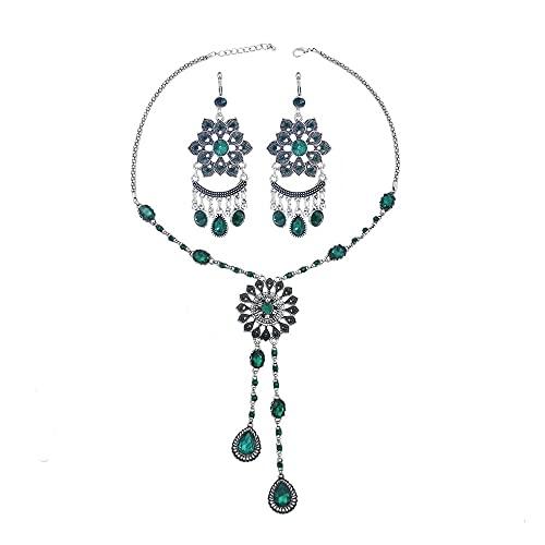 xiangwang Conjunto de collar y pendientes con borla de monedas de color plateado para mujer, collar y pendientes de diamantes de imitación gitano turco (color de metal: chapado en zinc azul y blanco)