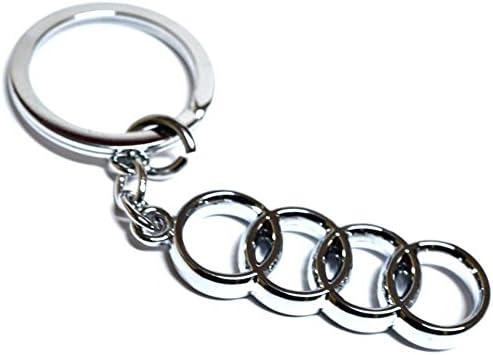 GCT Car and Bike Logo Metal Keychain for Car Bike Men Woman Keyring (Audi-Rings)