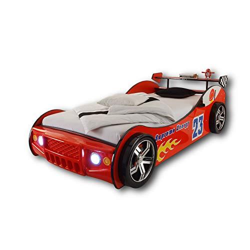 ENERGY Autobett mit LED-Beleuchtung 90 x 200 cm - Aufregendes Auto Kinderbett für kleine Rennfahrer in Rot - 105 x 60 x 225 cm (B/H/T)