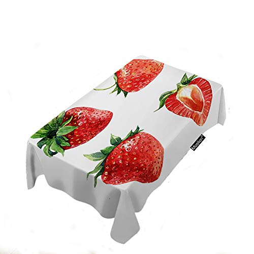 Moslion Tablecloth Watercolor Strawberries Summer Fruits Sweet Juicy Green Leaves Natural Rectangle Tablecloth Picnic Tablecloth BBQ Table Cloths Polyester for Kitchen 52x70 Inch