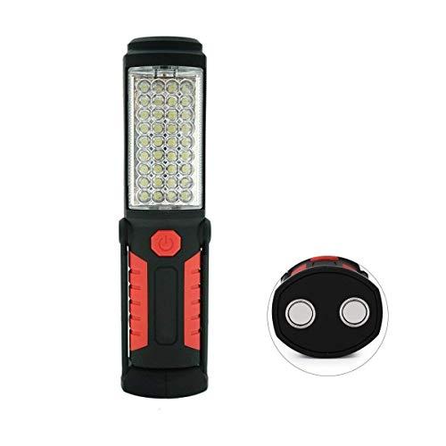 36 + 5 LED-Taschenlampe-Inspektionslampe, shsyue Torch Camping Licht Freihand-Garagenarbeitslicht-Taschenlampe mit Magnetfuß und Aufhängehaken für Auto, der Notfall repariert (rot)