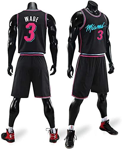 Traje De Ropa De Baloncesto para Hombres Wade Heat 3 Ciudad Versión De La Camiseta Uniforme Camisa De Verano Chaleco Shorts, Negro, XS, Black - 3XL