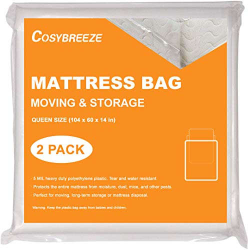 [2-Pack] Mattress Bag for Moving, Mattress Storage Bag, 5 Mil Queen Size, Super Thick- Heavy Duty, Protecting Mattress Long-Term Storage and Disposal - 60 x 104 Inch