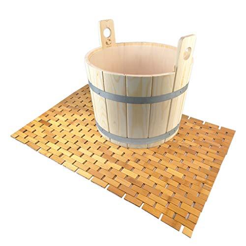 SudoreWell® Sauna Fußwanne Fußbottich aus Holz mit Einsatz plus Bambus Badematte