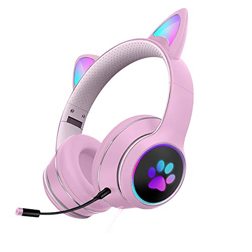 Women Cat Ear Gaming Headset Xbox One Headset with Surround Sound Stereo, Headset with Noise Canceling Mic & LED Light, Compatible with PC, PS4, Xbox One Controller(Adapter Needed), Nintendo Switch