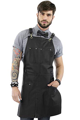Under NY Sky Real Leather Apron - Cross-back Straps, Split-Leg, Lined (Black)