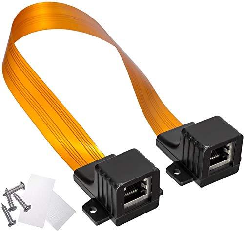 HB-DIGITAL LAN Ethernet RJ45 Fensterdurchführung Kabel Gold + 2 Befestigungsschrauben + 2 x Klebepads (doppelseitiges Klebeband) für Fenster und Türen Ultra Flach