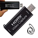BRITILILI Audio Video Capture Device Card, HDMI to USB 2.0 1080P 30fps Video Record for Live Broadcasting & Live Streaming, Gaming, Teaching, Video Conference