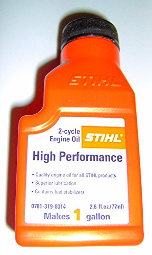 Stihl High Performance 2 cycle Engine Oil 2.6 ounce bottle MAKE 1 GALLON 0781-319-8014 (1 bottle)