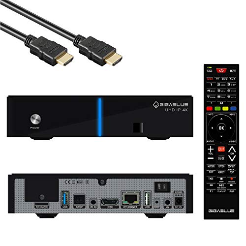 GigaBlue UHD IP 4K Multimedia Mulitroom - 2160P Digital Ultra HD Receiver - HDMI, SD Kartenleser, Astra vorinstalliert, USB3.0, Internet-Radio, HDR10, inkl. HDMI Kabel