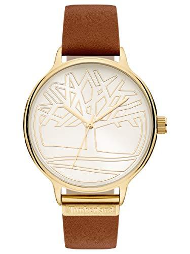 Timberland Damen Analog Quarz Uhr mit Leder Armband TBL15644MYG.04