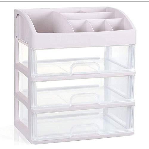 Boîte De Rangement Cosmétique Transparente De Type Tiroir Boîte De Rangement en Plastique pour Bureau Produits De Soins De La Peau,White-27.5cmX20cmX2