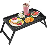 Jibanie Breakfast Bed Tray with Folding Legs Bed Table Tray Bamboo Portable Lap Desk Wooden Serving Dinner Tea TV Tray(Black)