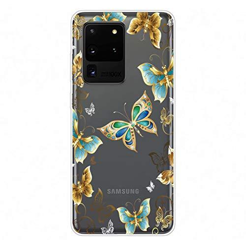 Miagon Transparent Hülle für Samsung Galaxy S20 Ultra,Gold Schmetterling Muster Kreativ Süße Durchsichtig Klar Soft Ultra Dünn Silikon Case Cover Schutzabdeckung