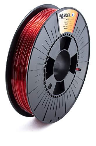 BASICFIL PET 1.75mm, 500 gr filamento de impresión 3D, Rojo transparente