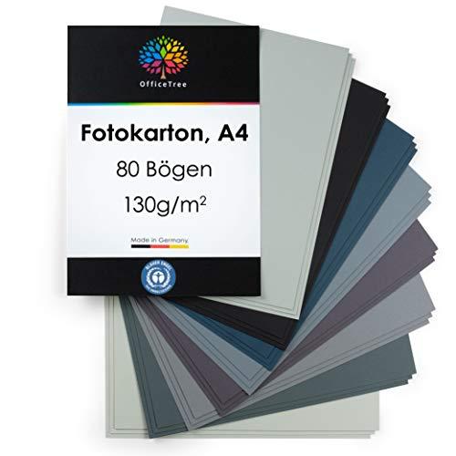 OfficeTree Tonpapier Grau A4 - Bastelpapier 80 Blatt 130g/m² - 8 Grautöne - Fotokarton A4 zum Basteln und Gestalten - Blauer Engel zertifiziert
