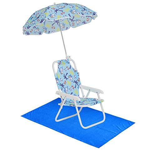 Boys' Shark Swim Essentials - Boys Beach Chair with Umbrella and Towel OS