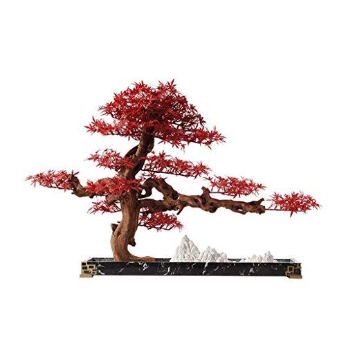 Plantas Artificiales Nuevo chino Zen Simulación Hoja de arce roja artificial cedro, Tea Room Hotel Club Bonsai artificial Estudio de la decoración del árbol artificial Planta artificial Hogar Oficina