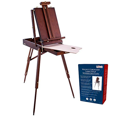 U.S. Art Supply Coronado Walnut Easel, Large Adjustable Wooden French Style Field and Studio Sketchbox Tripod Easel with Drawer, Artist Wood Palette, Premium Beechwood, Painting, Sketching Stand