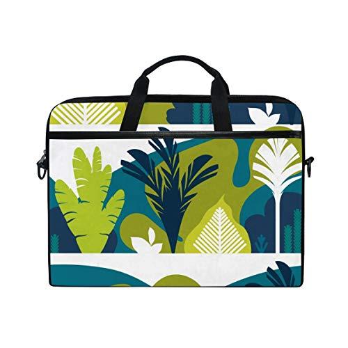 FOURFOOL 15-15.6 inch Laptop Bag,Trees Broad Leaved Tropical Ferns,New Canvas Print Pattern Briefcase Laptop Shoulder Messenger Handbag Case Sleeve
