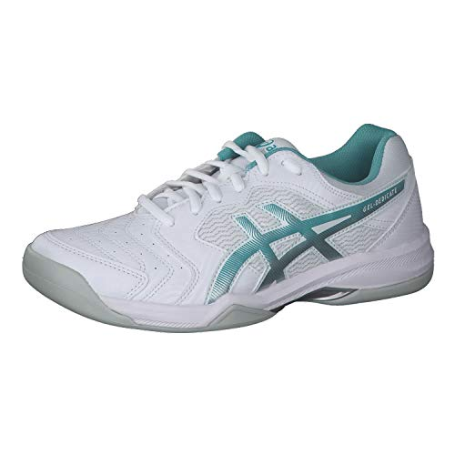 ASICS Damen Gel-Dedicate 6 Sneaker, Blanco/Techno Cyan, 38 EU