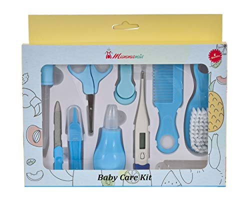 MUMMAMIA Baby 10 Pc Baby Health Care and Grooming Kit for New Born, Infants (Blue)