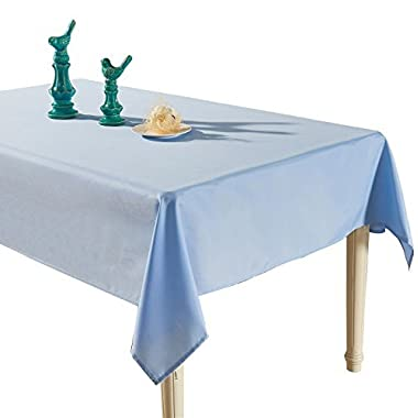 YEMYHOM Spill-Proof Fabric Rectangle Tablecloth for Dining Room, Wedding and Party (60 x 84, Light Blue)