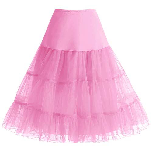 Bbonlinedress 1950 Petticoat Unterrock Crinoline Underskirt Reifrock Rock für 50er Vintage Cocktailkleid Pink XL