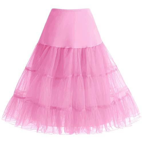 bbonlinedress Bbonlinedress Petticoat Unterrock Crinoline Underskirt Reifrock Rock für 50er Vintage Cocktailkleid Pink L